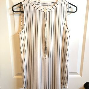 Loft button up sleeveless striped dress shirt